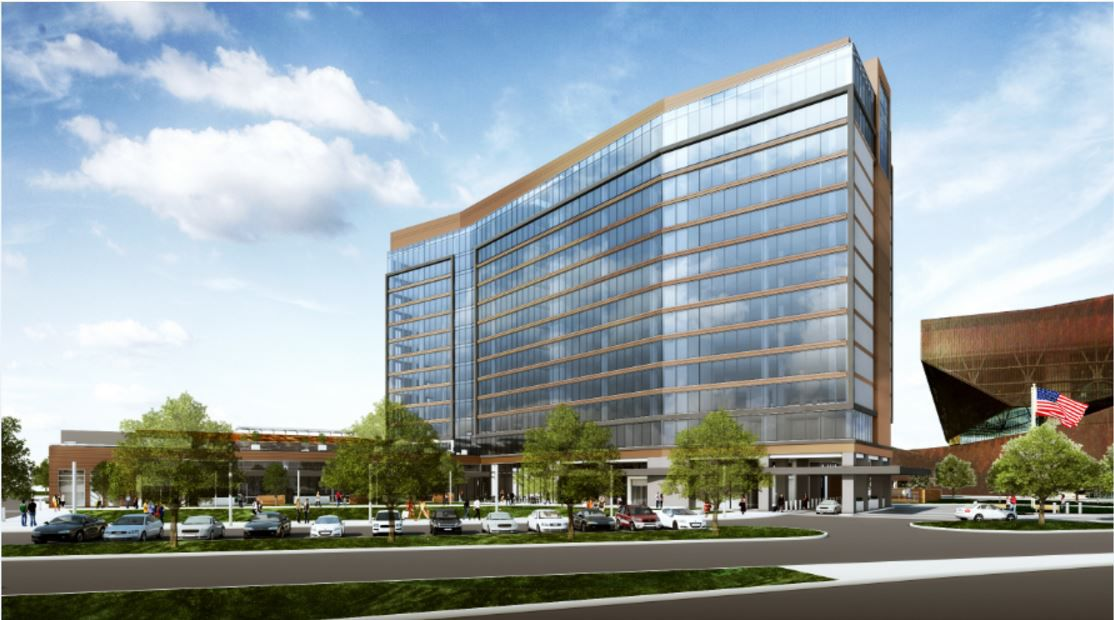 An artist's rendering shows the Westin Irving Convention Center Los Colinas hotel, which is set to open in last 2018 or early 2019.