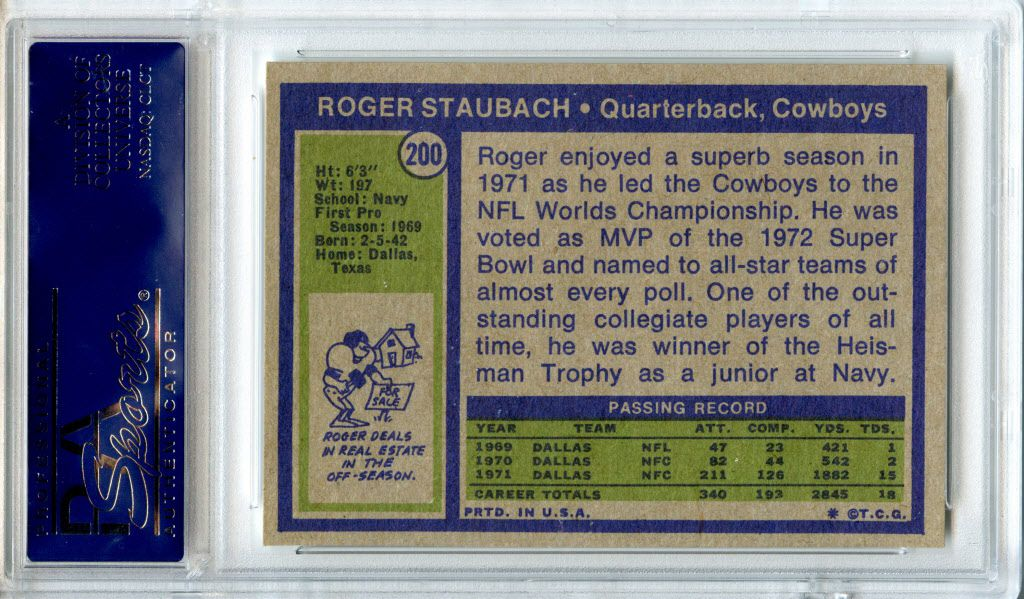 images from the Hunt-Casterline Pro Football Hall of Fame Football Card Collection.  Backside Roger Staubach 1972 Topps football card