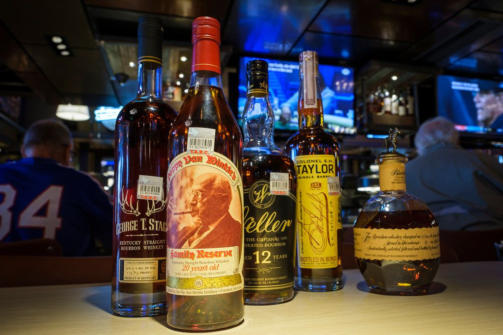 A collection of bourbon at Pappas Delta Blues Smokehouse on Friday, Sept. 13, 2019, in Plano. (Smiley N. Pool/The Dallas Morning News)