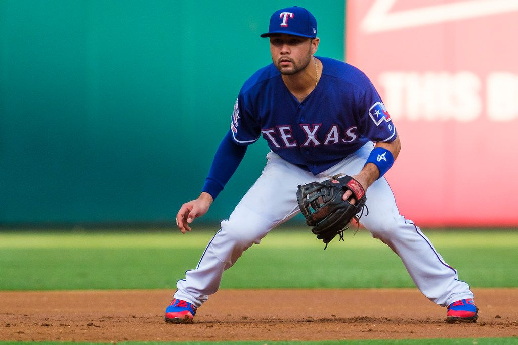 Texas Rangers third baseman Isiah Kiner-Falefa prepares for a pitch during the first inning against the Detroit Tigers at Globe Life Park on Friday, Aug. 2, 2019, in Arlington. (Smiley N. Pool/The Dallas Morning News)