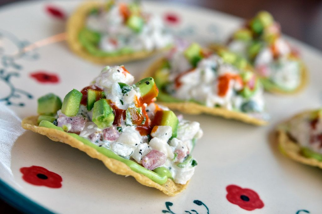 White ceviche served on tostada from restaurant Jose in Dallas.