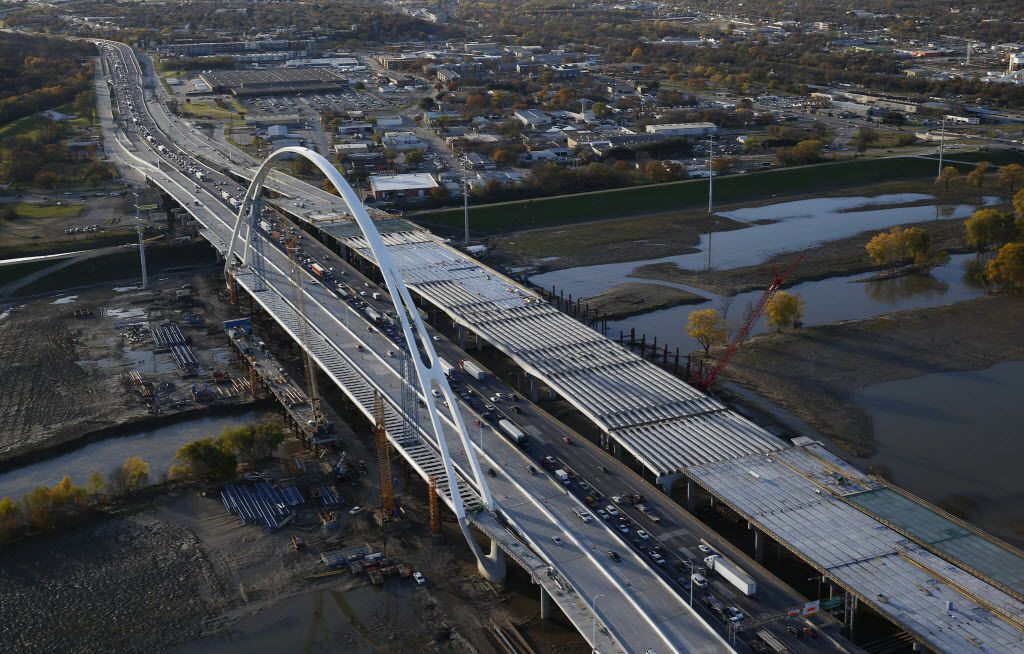 Progress on the new I-30 bridges over the Trinity River in downtown Dallas are shown -- looking towards the west -- on December 9, 2015. The work is part of the $800 million Horseshoe Project, a rebuild of the I-30 and I-35E Mixmaster interchange.