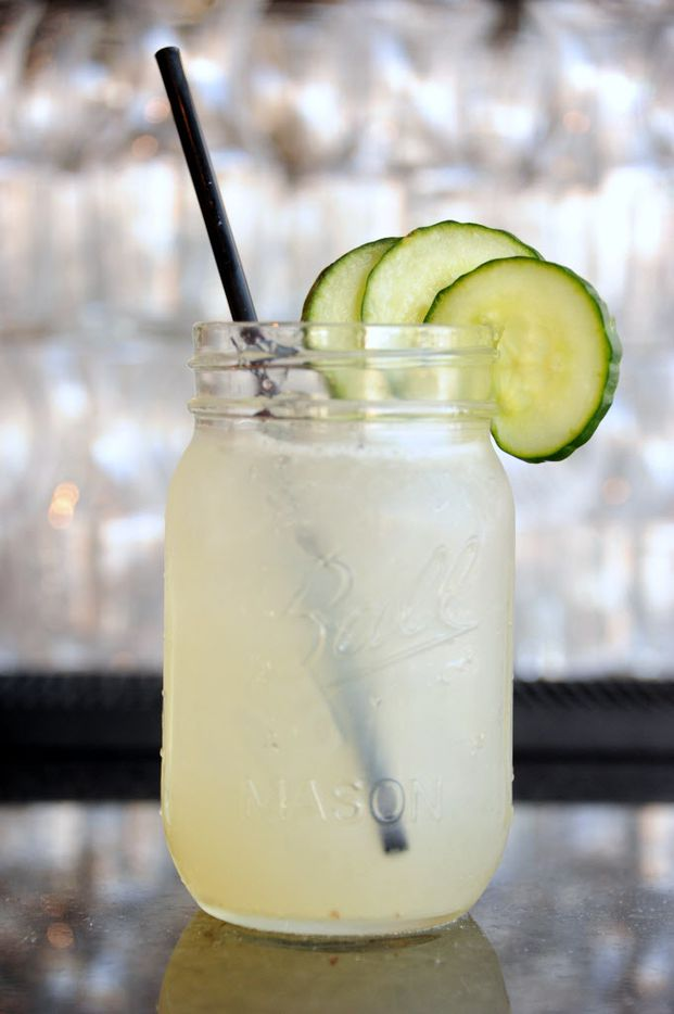 The Green Hornet features Tito's vodka, tri-peppercorn syrup, lime, and cucumber at Pink Magnolia in Oak Cliff.