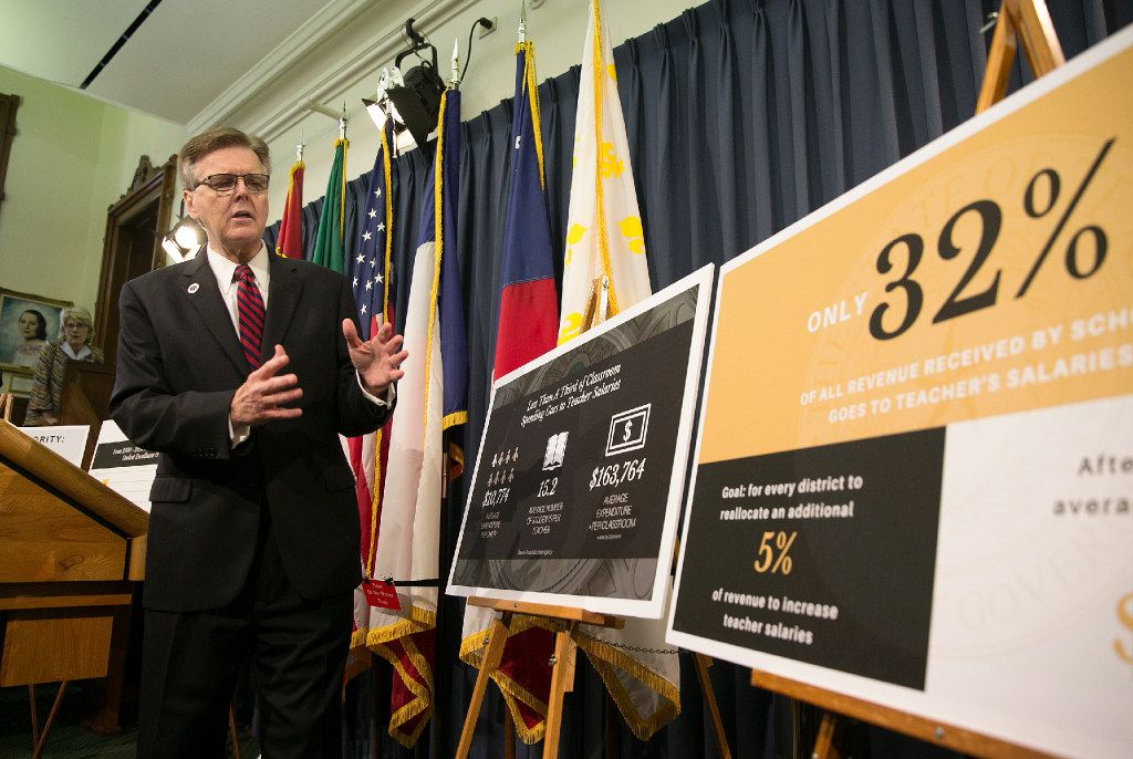 Lt. Gov. Dan Patrick discussed his special session plan to boost teacher pay during a news conference at the Capitol in Austin on Thursday. (Deborah Cannon/Austin American-Statesman)