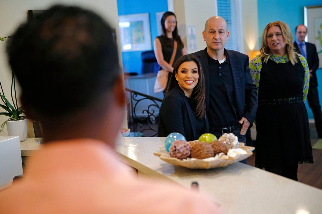 Eva Longoria, along with Bobby Turner, principal  and chief executive officer, and Christine Schoellhorn, president, visited Legends at Lake Highlands in Dallas.