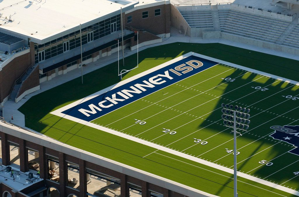 Construction continues at McKinney ISD stadium in McKinney on Thursday, March 1, 2018. (Vernon Bryant/The Dallas Morning News)