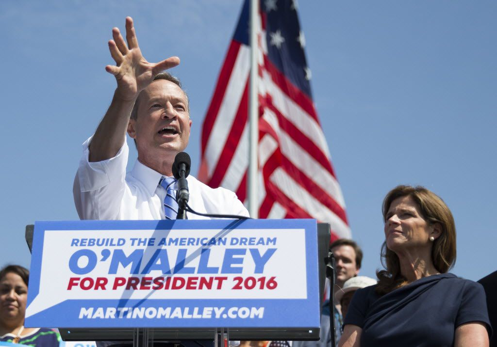 Former Maryland Gov. Martin O'Malley spoke during a Baltimore event in May 2015 to announce that he was entering the Democratic presidential race as his wife Katie listened.