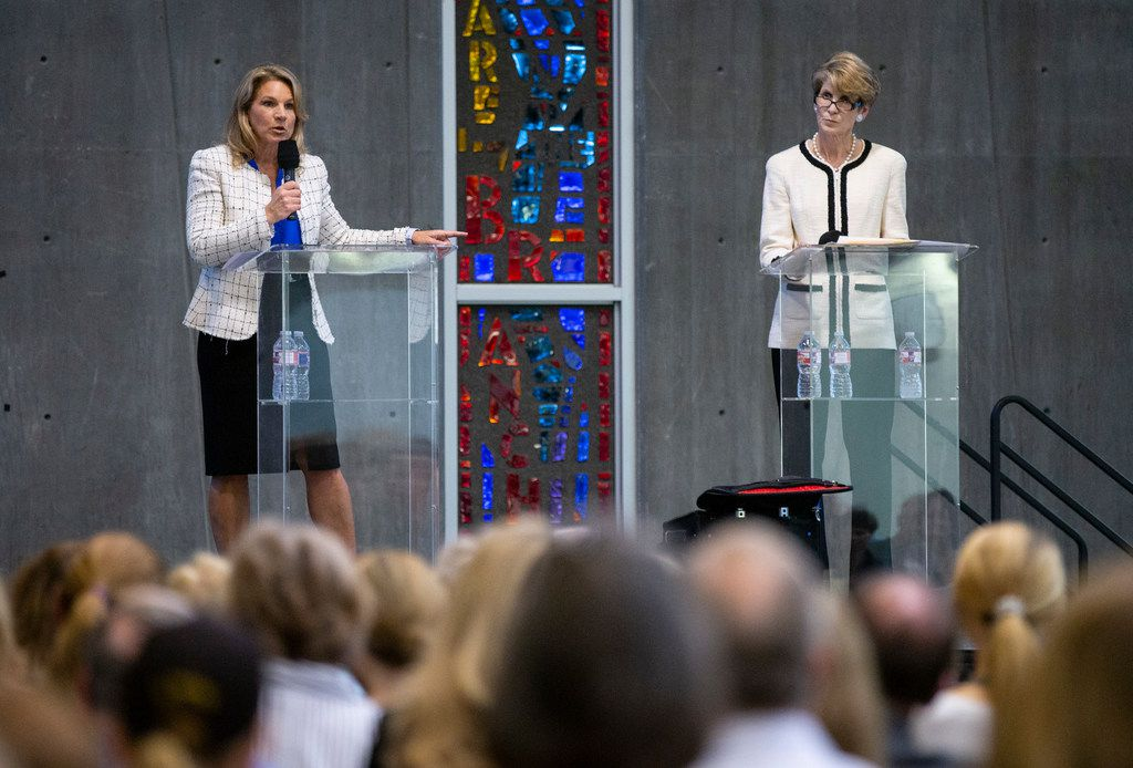 City councilwoman Jennifer Staubach Gates, left, and Laura Miller, candidates for City Council District 13, participate in a debate at Jesuit College Preparatory School of Dallas, Monday, April 22, 2019.
