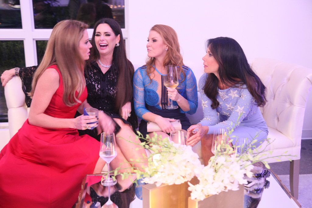 "Cary Deuber, D'Andra Simmons, Brandi Redmond and LeeAnne Locken (from left to right) of ""Real Housewives of Dallas""party hearty in the first episode this season."
