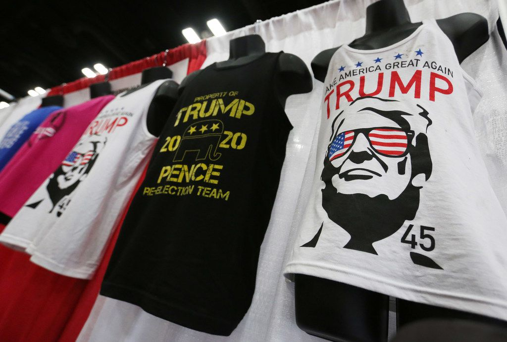 A variety of tee shirts are displayed for sale at the 2018 Texas GOP Convention held at the Henry B. Gonz‡lez Convention Center in downtown San Antonio. Texas on Thursday, June 14, 2018. (Louis DeLuca/The Dallas Morning News)