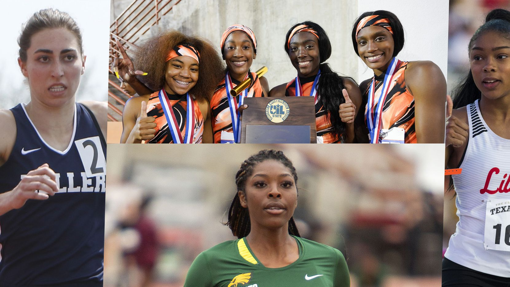 Far left: Keller's Isabel Van Camp. Top middle: Lancaster's 4x200 relay team -- Aysia Ward, Trelondra Strong, Cornesia Calhoun and Kiara Smith.Bottom middle: DeSoto's Rosaline Effiong.Far right: Frisco LIberty's Nissi Kabongo.