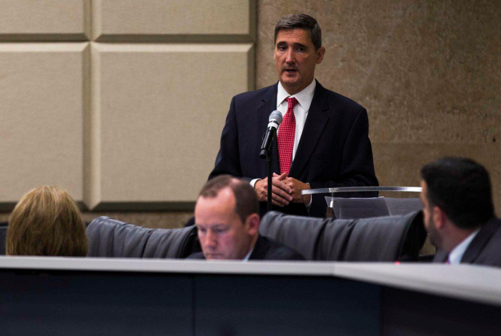Dallas City Attorney Larry E. Casto answers questions as the Dallas city council hears a briefing on the proposed Harold Simmons Park, the proposed park between the Trinity River levees near downtown Dallas, on Wednesday, August 2, 2017 at Dallas City Hall.  (Ashley Landis/The Dallas Morning News)