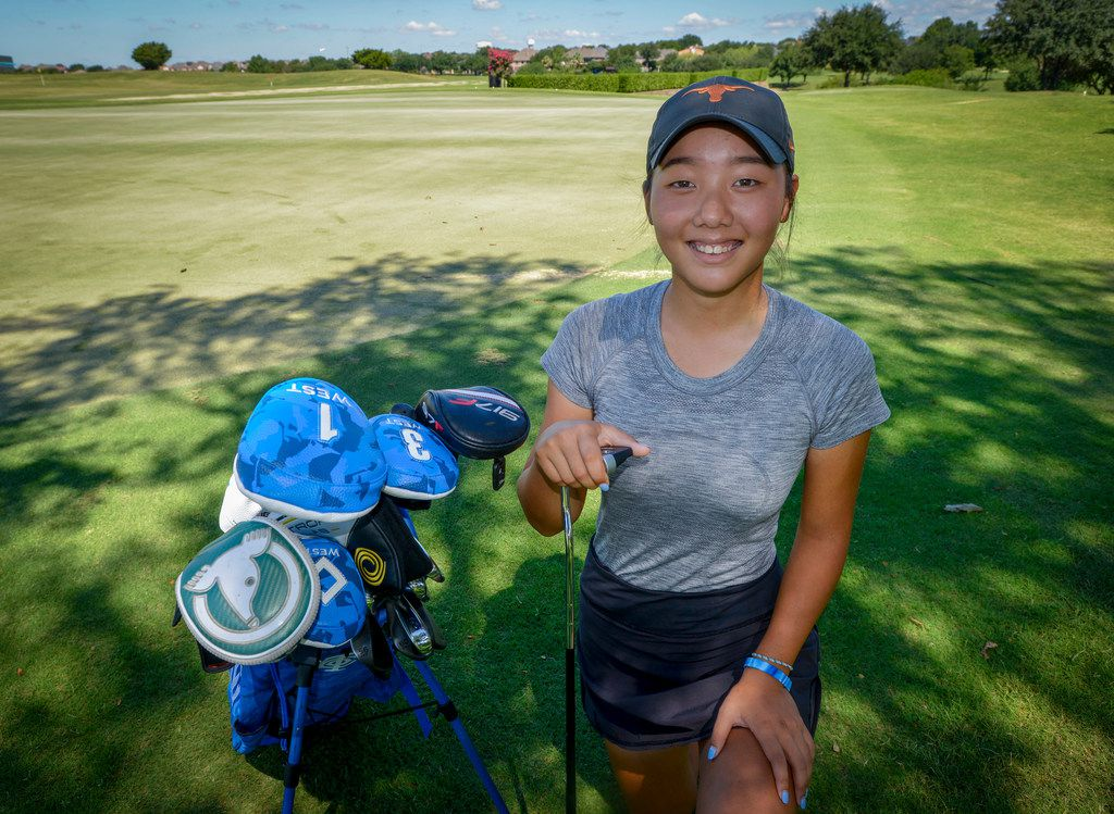 Carrollton Ranchview golfer, Bohyun Park on the putting green at Hackberry Country Club in Irving, Texas on July 15, 2019. (Robert W. Hart/Special Contributor)