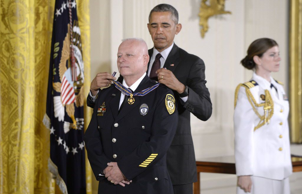 President Barack Obama awarded Garland police Officer Gregory Stevens with the 2014-15 Public Safety Office Medal of Valor — the nation's highest award for police — during a ceremony at the White House in May 2016.
