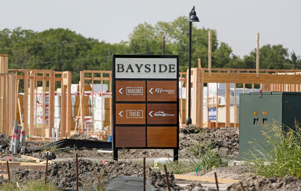 Construction continues on the Bayside development in Rowlett, photographed on Thursday.