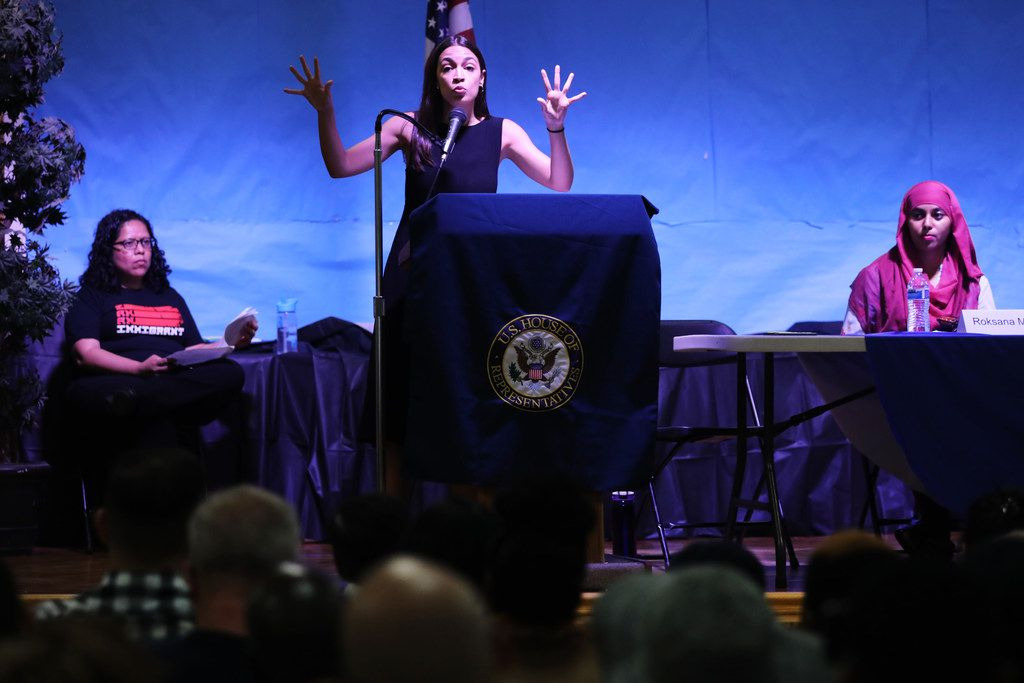 Rep. Alexandria Ocasio-Cortez holds a town hall In Queens on July 20.