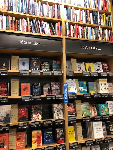 Unlike many other bookstores, most books in an Amazon store face out.