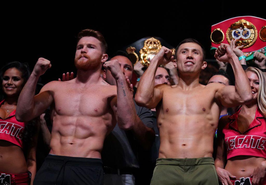 Saúl 'Canelo' Álvarez (49-1-1, 34 KO) y Gennady 'GGG' Golovkin (37-0-0, 33 KO) dieron las 160 libras en la ceremonia de pesaje del viernes previo a su combate del sábado 16 en el T Mobile Arena de Las Vegas. Foto GETTY IMAGES