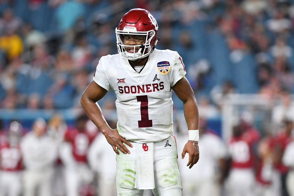 MIAMI, FL - DECEMBER 29: Kyler Murray #1 of the Oklahoma Sooners reacts after the play in the third quarter during the College Football Playoff Semifinal against the Alabama Crimson Tide at the Capital One Orange Bowl at Hard Rock Stadium on December 29, 2018 in Miami, Florida.  (Photo by Mark Brown/Getty Images)