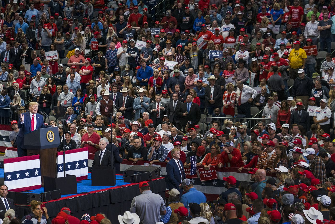 President Donald Trump addresses a campaign rally at the American Airlines Center on Thursday, Oct. 17, 2019, in Dallas.