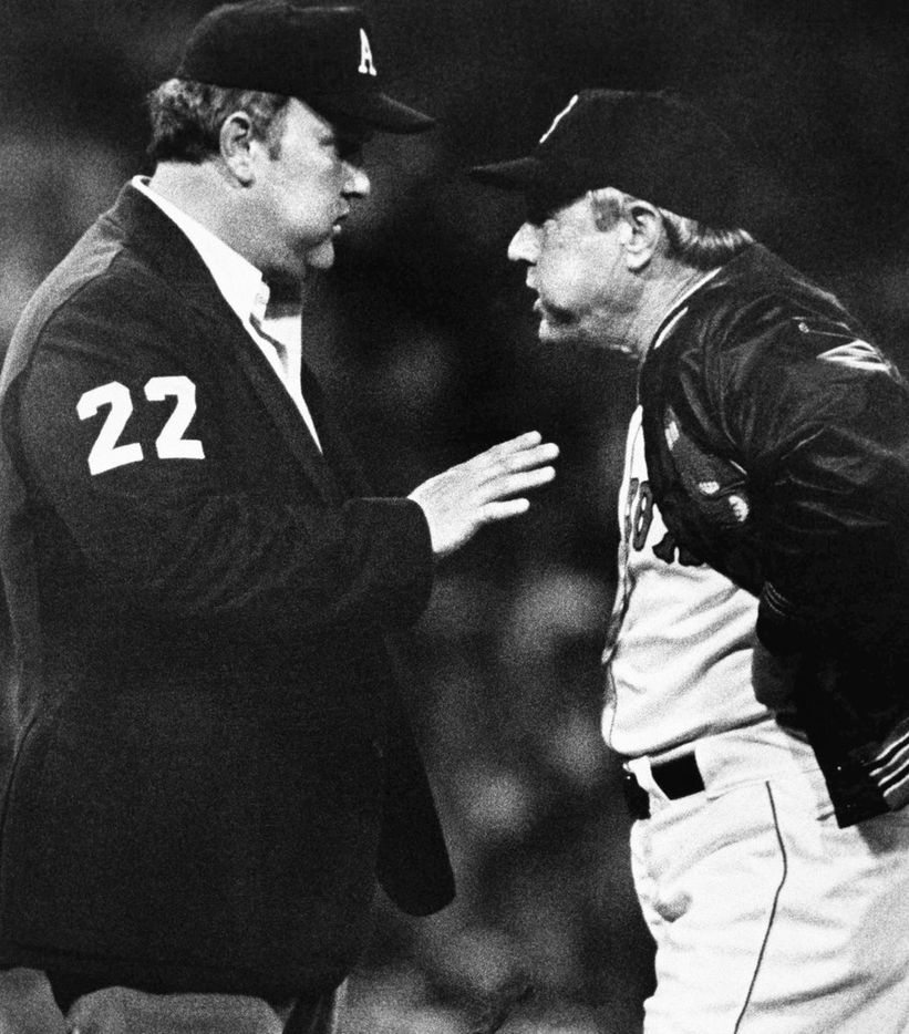 Boston Red Sox manager Ralph Houk clearly didn't agree with a call by Barnett in a Aug. 31, 1981 game.