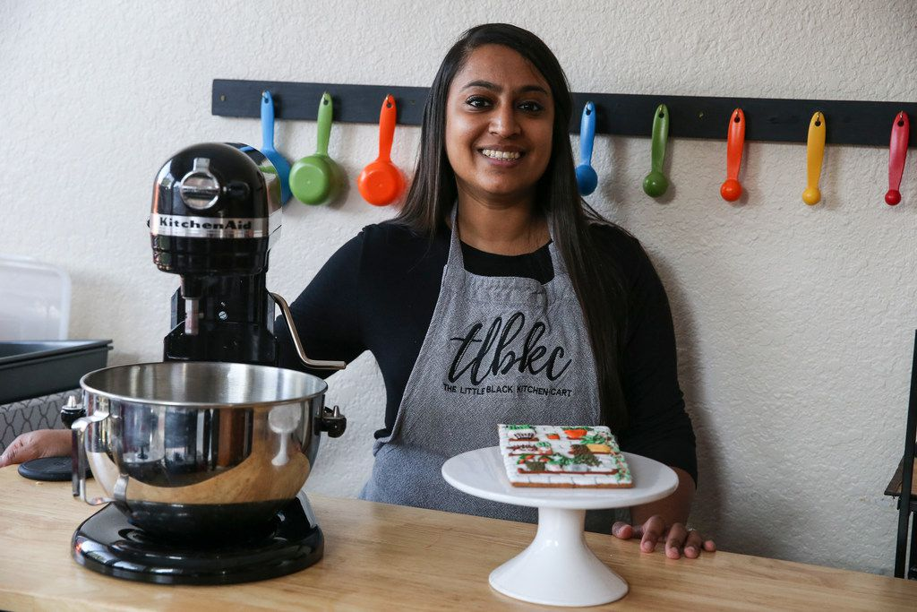 Ankita Patel bakes and decorates cookies for her home-based business, Little Black Kitchen Cart