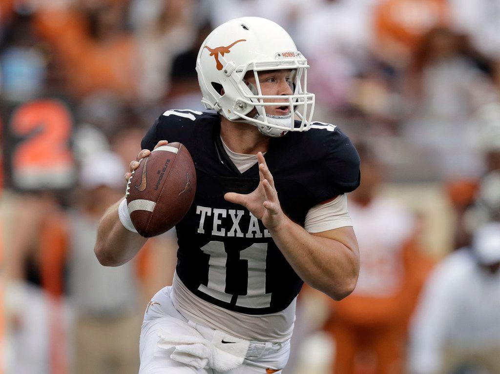 Texas Longhorns quarterback Sam Ehlinger (11) looks to throw during the team's Orange-White intrasquad spring college football game, Saturday, April 21, 2018, in Austin, Texas. (AP Photo/Eric Gay) ORG XMIT: TXEG210