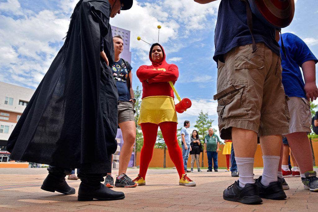 Ramon Mendoza, 35, of Irving, sports his El Chapulin Colorado costume during the Texas Latino Comic Con at the Latino Cultural Center in Dallas, Saturday, July 29, 2017. The superhero El Chapulin Colorado meaning The Red Grasshopper was a popular Mexican comedy show in the 1970s and early 80s. Ben Torres/Special Contributor
