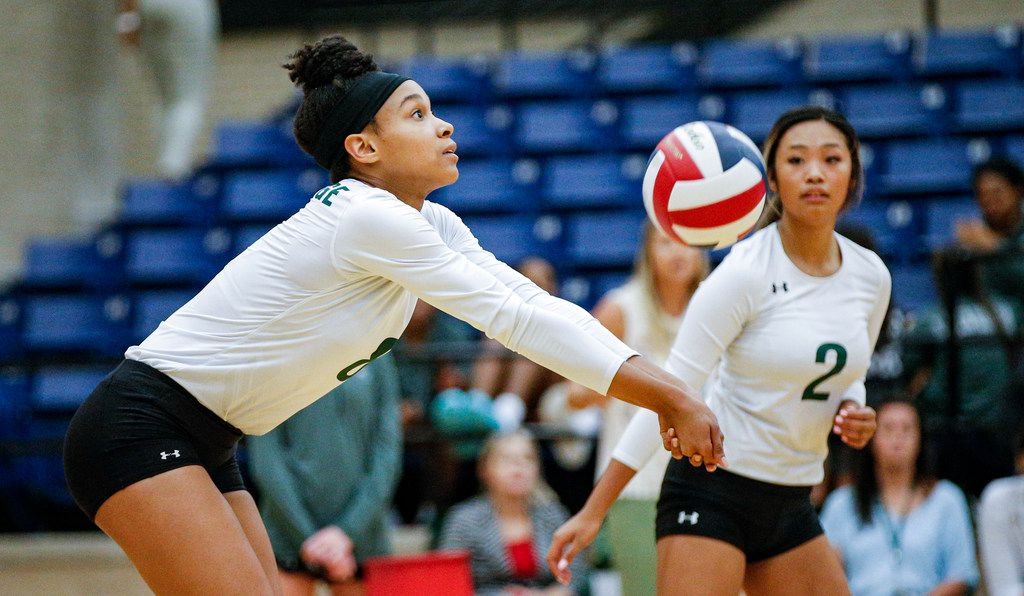 Mansfield Lake Ridge junior Lyric Stewart (8) bumps the ball during a high school volleyball game against North Mesquite at Mansfield Lake Ridge High school in Mansfield, Tuesday, August 27, 2019. Lake Ridge won in three sets. (Brandon Wade/Special Contributor)