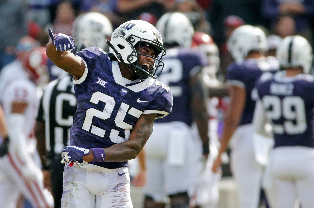TCU Horned Frogs wide receiver KaVontae Turpin (25) celebrates his big first half output in the second quarter during the Oklahoma Sooners vs. the TCU Horned Frogs NCAA football game at Amon G. Carter Stadium in Fort Worth, Texas on Saturday, October 20, 2018. (Louis DeLuca/The Dallas Morning News)