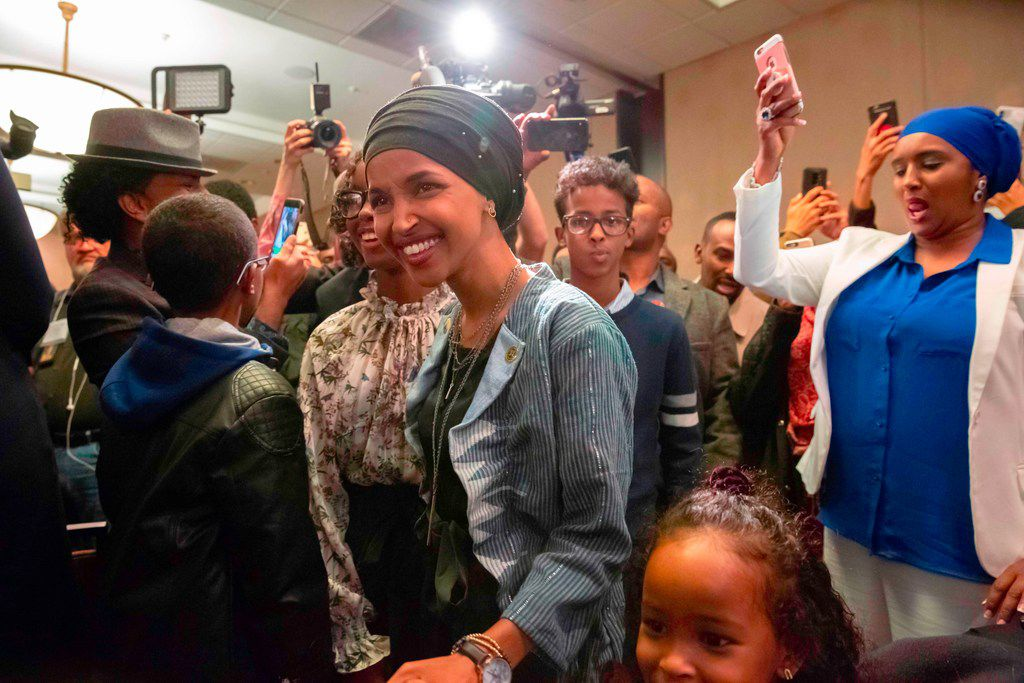 Ilhan Omar, newly elected to the U.S. House of Representatives on the Democratic ticket, arrives for her victory party on election night in Minneapolis, Minn. on Nov. 6, 2018. U.S. voters elected two Muslim women, both Democrats, to Congress, marking a historic first. Ilhan Omar, a Somali refugee, won a House seat in a heavily Democratic district in the Midwestern state of Minnesota, where she will succeed Keith Ellison, himself the first Muslim elected to Congress.