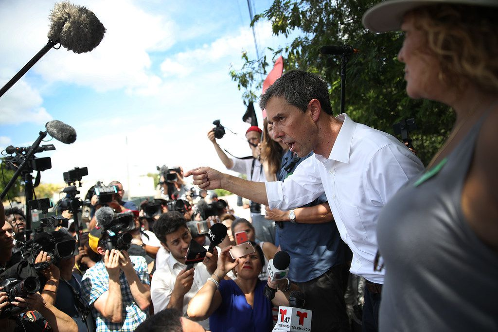 Democratic presidential candidate Beto ORourke speaks to the media as he visits the outside of a detention center for migrant children on June 27, 2019, in Homestead, Fla.