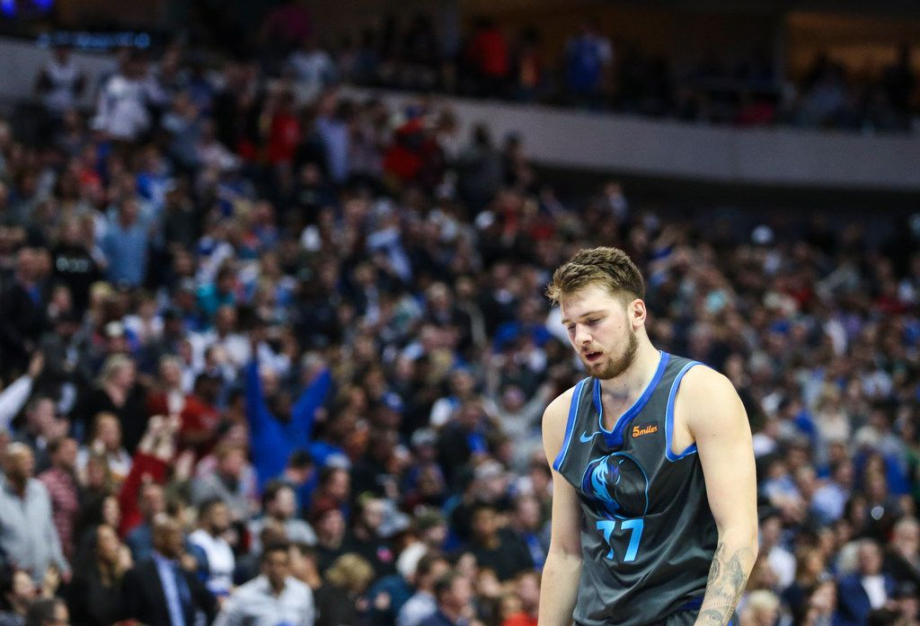 Dallas Mavericks forward Luka Doncic (77) walks off the court following a matchup between the Dallas Mavericks and the Houston Rockets on Sunday, March 10, 2019 at the American Airlines Center in Dallas. (Ryan Michalesko/The Dallas Morning News)