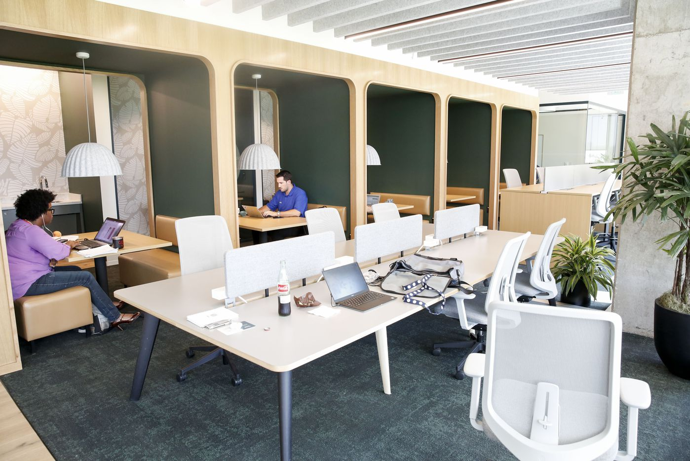 Some of the many different styles of coworking spaces at Hana.
