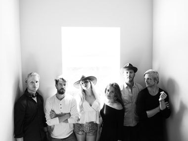The country music group Delta Rae poses for a group portrait.