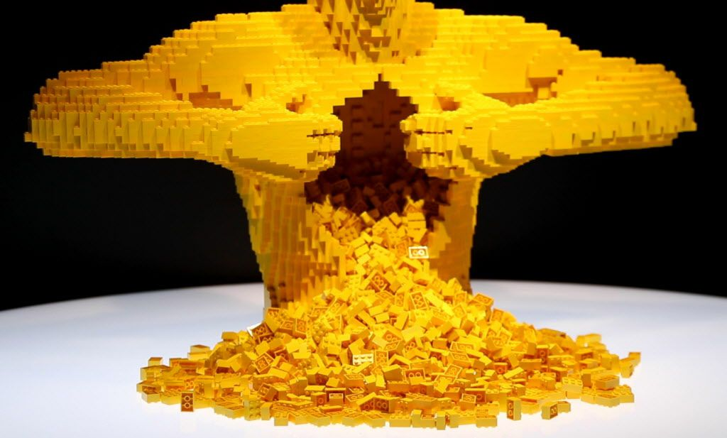 Yellow, from The Art of the Brick! LEGO art exhibit by Nathan Sawaya on display Thursday at the Perot Museum of Nature and Science in Dallas. (Benjamin Robinson/The Dallas Morning News)