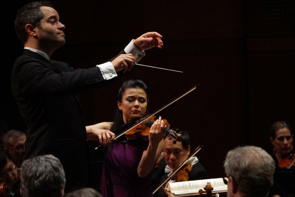 Violinist Karen Gomyo performed with guest conductor Andrew Grams and the Fort Worth Symphony at Bass Hall in Fort Worth, Texas on Saturday, March 18, 2017. (Lawrence Jenkins/Special Contributor)