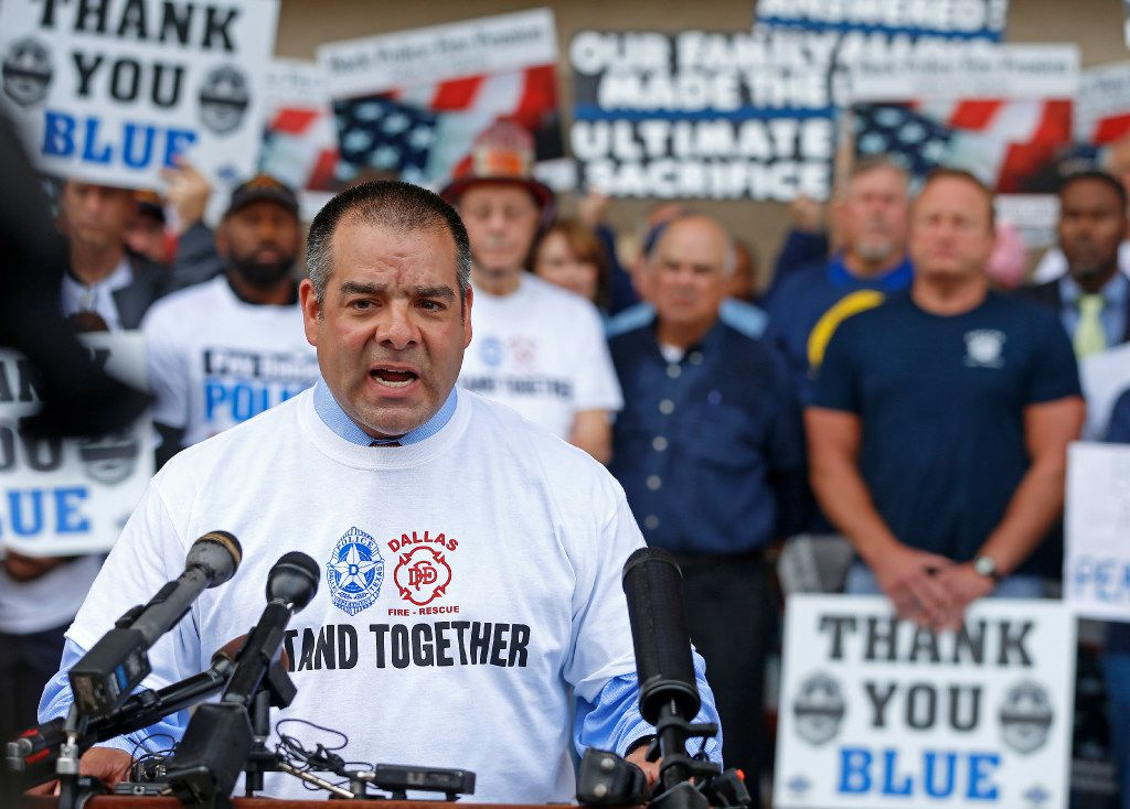 In front of Dallas City Hall on April 26, Sgt. Mike Mata, president of Dallas Police Association, spoke during a rally against Mayor Mike Rawlings' letter asking taxpayers to protest legislation intended to spare the fast-failing Dallas Police and Fire Pension System.