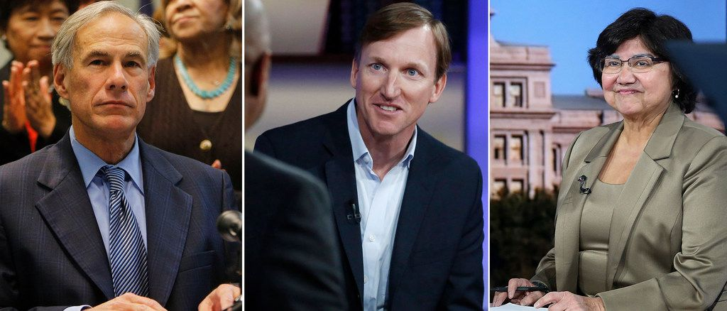 Republican incumbent Greg Abbott (left) had $43.3 million in cash for his gubernatorial re-election bid as of Jan. 25. Democrat Andrew White (center) had about $169,000, and Lupe Valdez (right) had nearly $84,000.