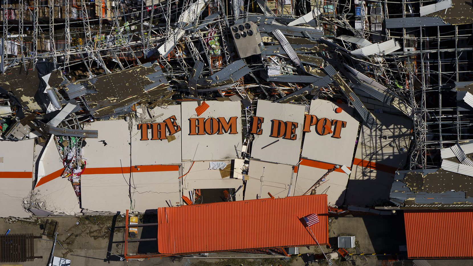 The destroyed Home Depot store at 11682 Forest Central Drive is seen in an aerial view of tornado damage on Monday, Oct. 21, 2019, in Dallas.