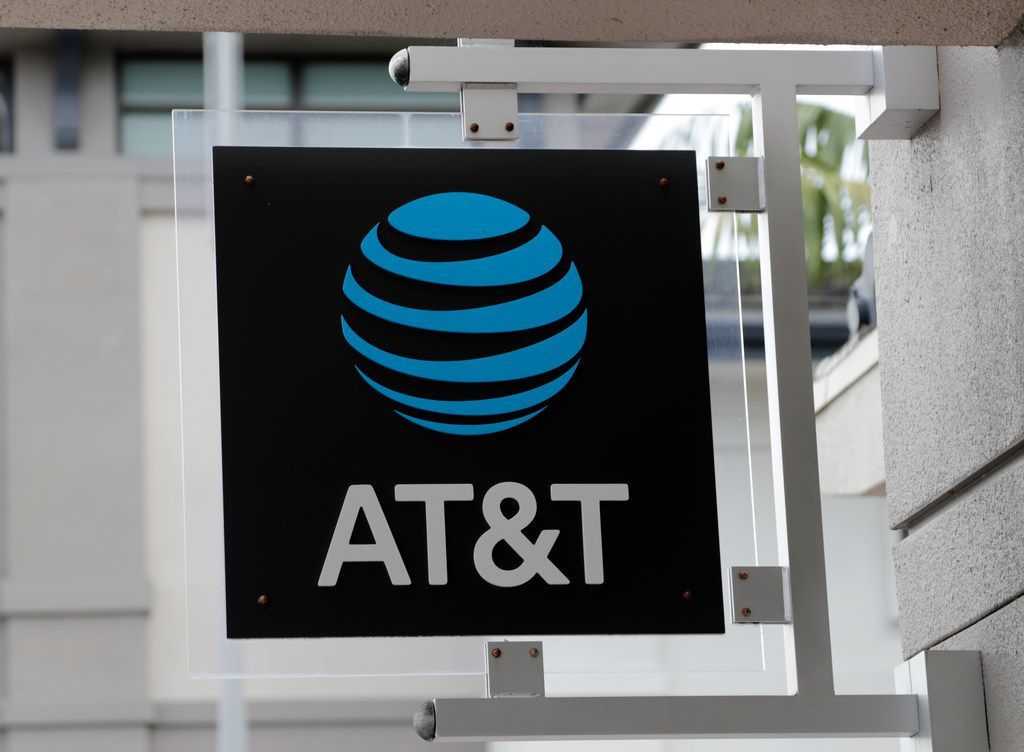 In this Thursday, July 18, 2019 photo, is an AT&T retail store in Miami. (AP Photo/Lynne Sladky)