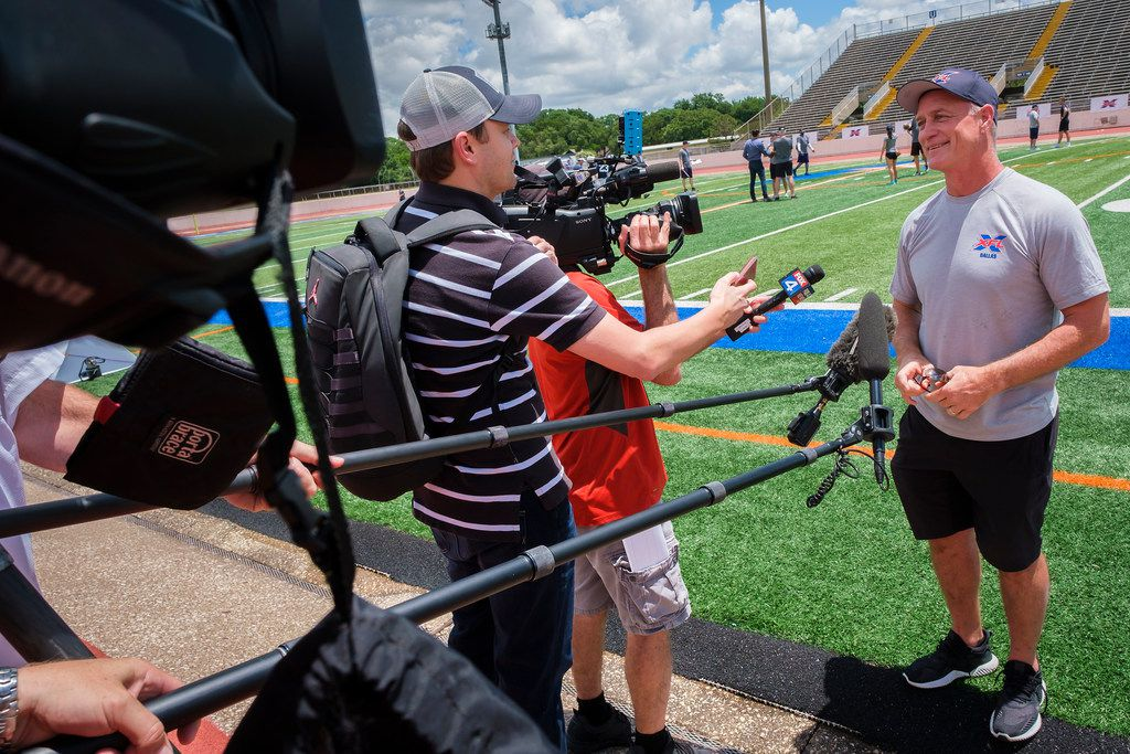 Dallas XFL personnel director Daryl Johnston talks with the media following tryouts for the new Dallas XFL pro football team at UTA's Maverick Stadium on Friday, June 7, 2019, in Arlington. (Smiley N. Pool/The Dallas Morning News)