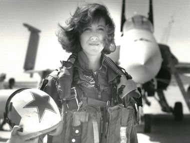 Tammie Jo Shults, seen here with her U.S. Navy F/A-18A jet in 1992, was one of the Navy's first female fighter pilots and was in command of Southwest Airlines Flight 1380 when its engine exploded on April 17, 2018. She managed to land it safely. Now, she has written a book about her experiences.