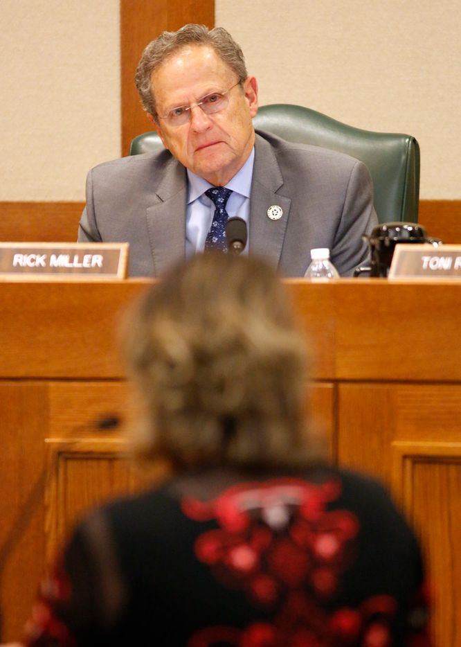 "Texas Representative D.F. ""Rick"" Miller, R-Sugar Land, listens to ""for"" testimony from former Texas Medicaid director Kay Ghahremani on House Bill 2453 during a House Human Services Committee meeting."