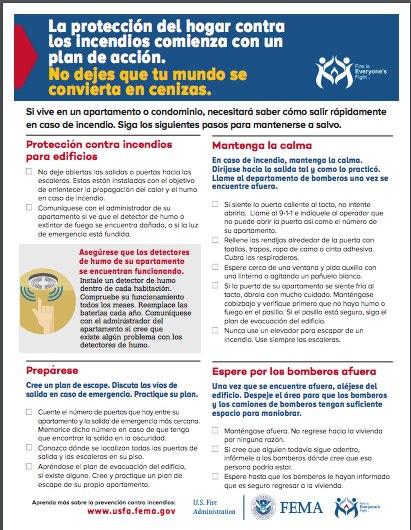 Una guía de protección de incendios proporcionada por FEMA