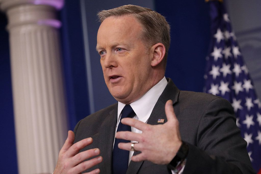 White House press secretary Sean Spicer has defended plans to use eminent domain for the border wall  (Photo by Chip Somodevilla/Getty Images)