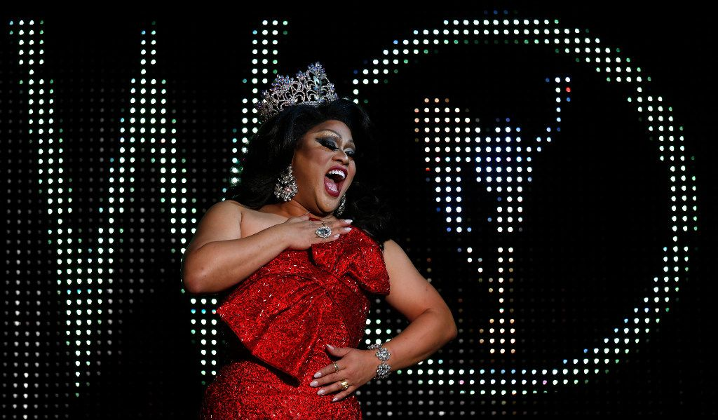 Suzy Wong, Miss Gay America 2016, performs an emotional montage of songs near the end of the Miss Gay Texas America finale. She was inducted as an honorary Miss Gay Texas America after her performance.