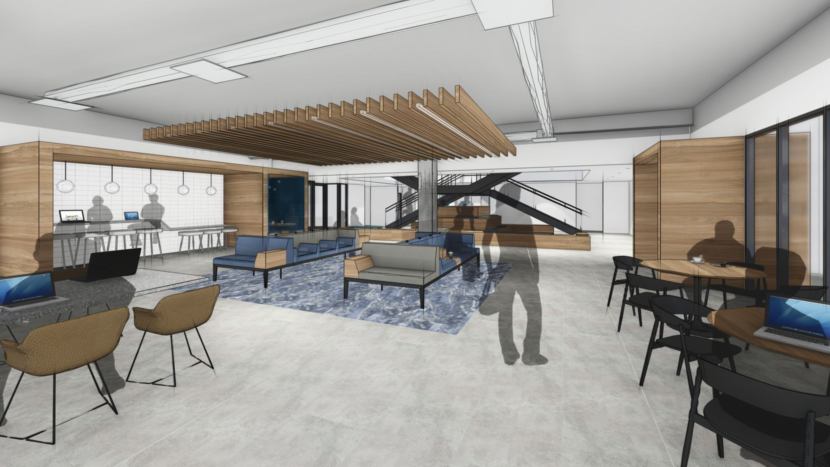 An design for the new tenant lounge at Campbell Centre.
