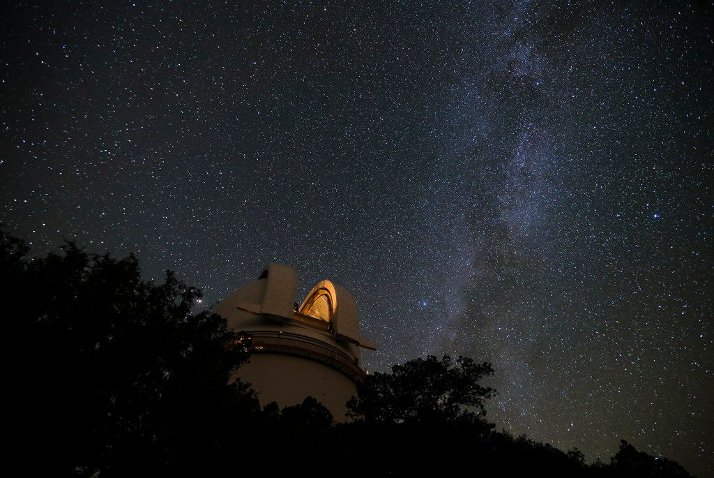 The Milky Way streams across the sky above McDonald Observatory in Fort Davis.