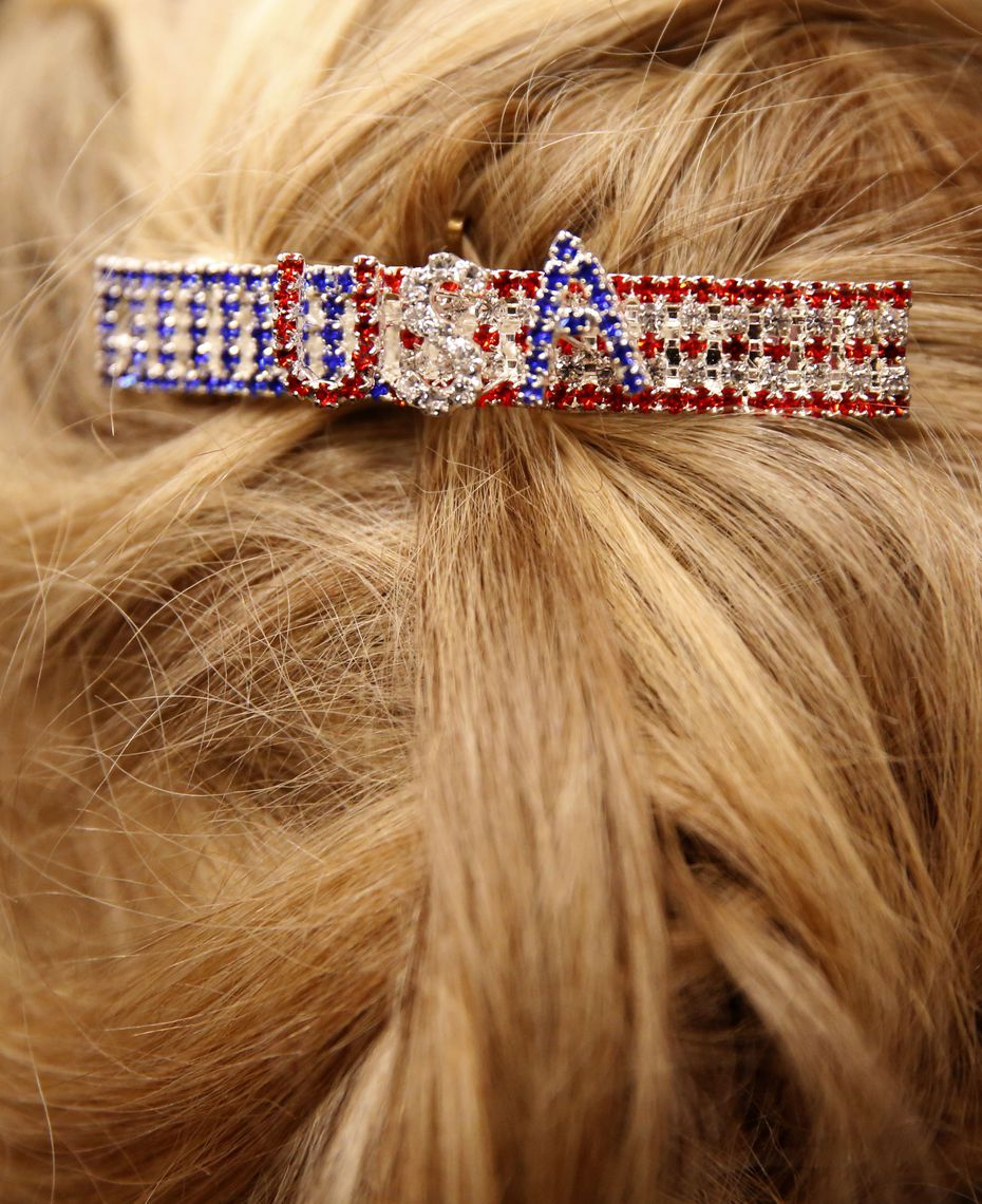 Susan Frazier wears a USA barrette during Sen. Ted Cruz campaign rally at Sharon Shrine Center in Tyler, Texas on Thursday, Oct. 25, 2018. (Rose Baca/The Dallas Morning News)